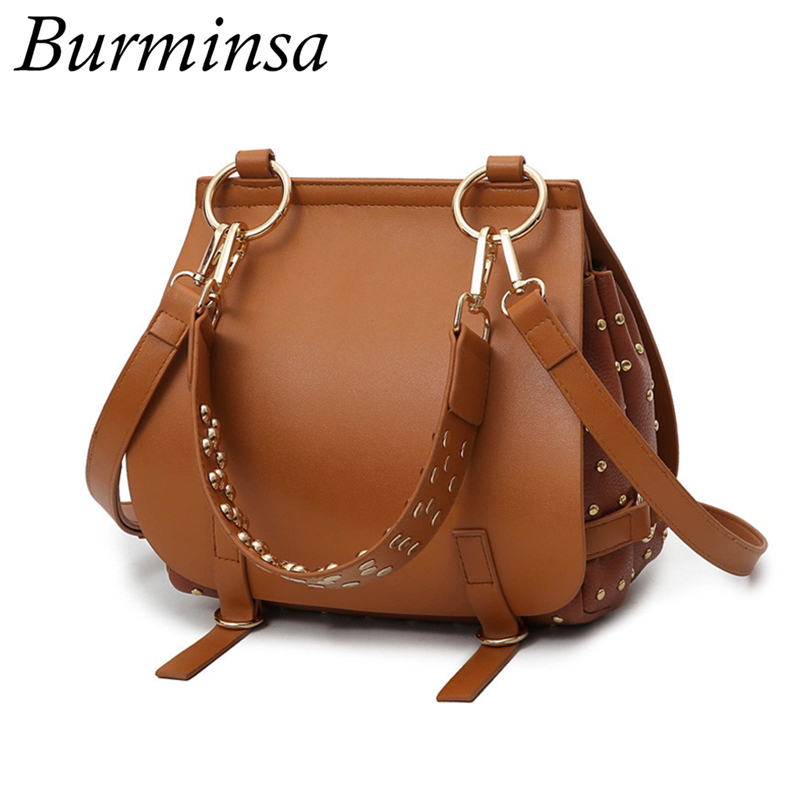 Burminsa Brand Rivet Saddle Crossbody Bags Women Messenger Bags Designer Handbags High Quality PU Leather Shoulder Bags New 2017