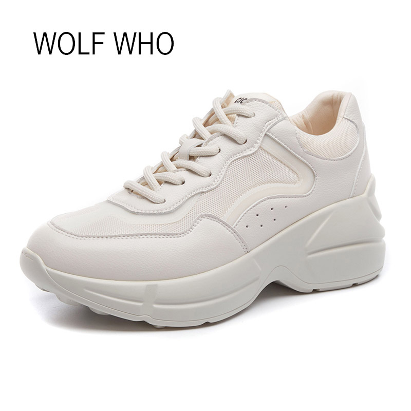 WOLF WHO 2018 Spring Autumn White Women Sneakers Ladies Shoes Female Platform Sneaker Tenis Femininos Casual Basket Femme H-451 wolf who women winter shoes fur wedge fashion sneakers women hidden heels basket femme tenis femininos casual h 152