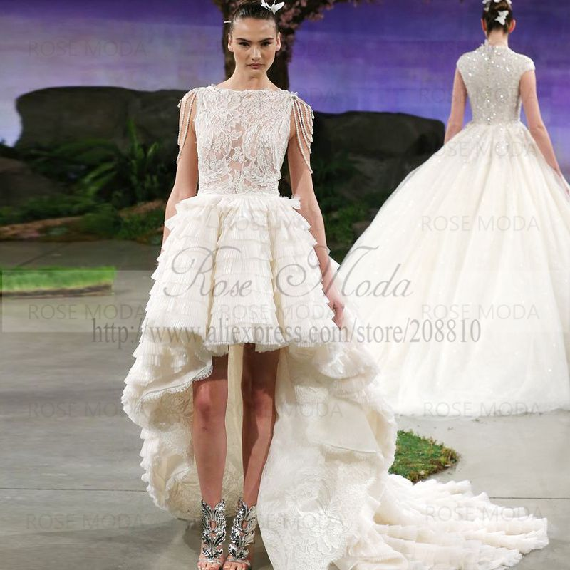 Scalloped High Low Alencon Lace Bodice Wedding Dress with Ruffled ...