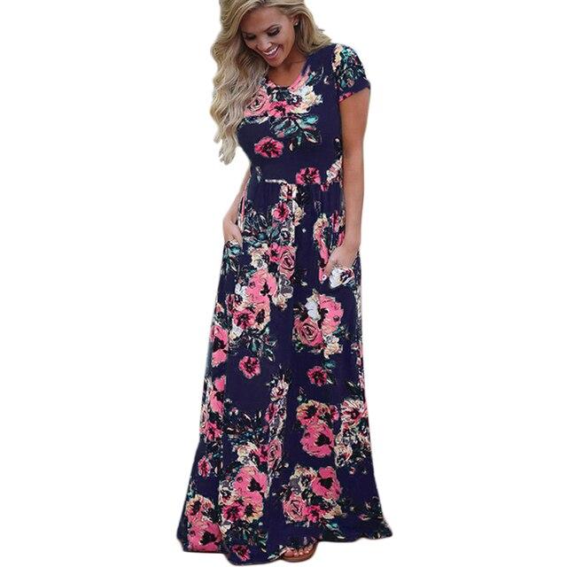 83b54455d33 Women Long Maxi Dress 2019 Summer Floral Print Boho Beach Dress Short  Sleeve Evening Party Dress Tunic Vestidos Plus Size XXXL-in Dresses from  Women's ...