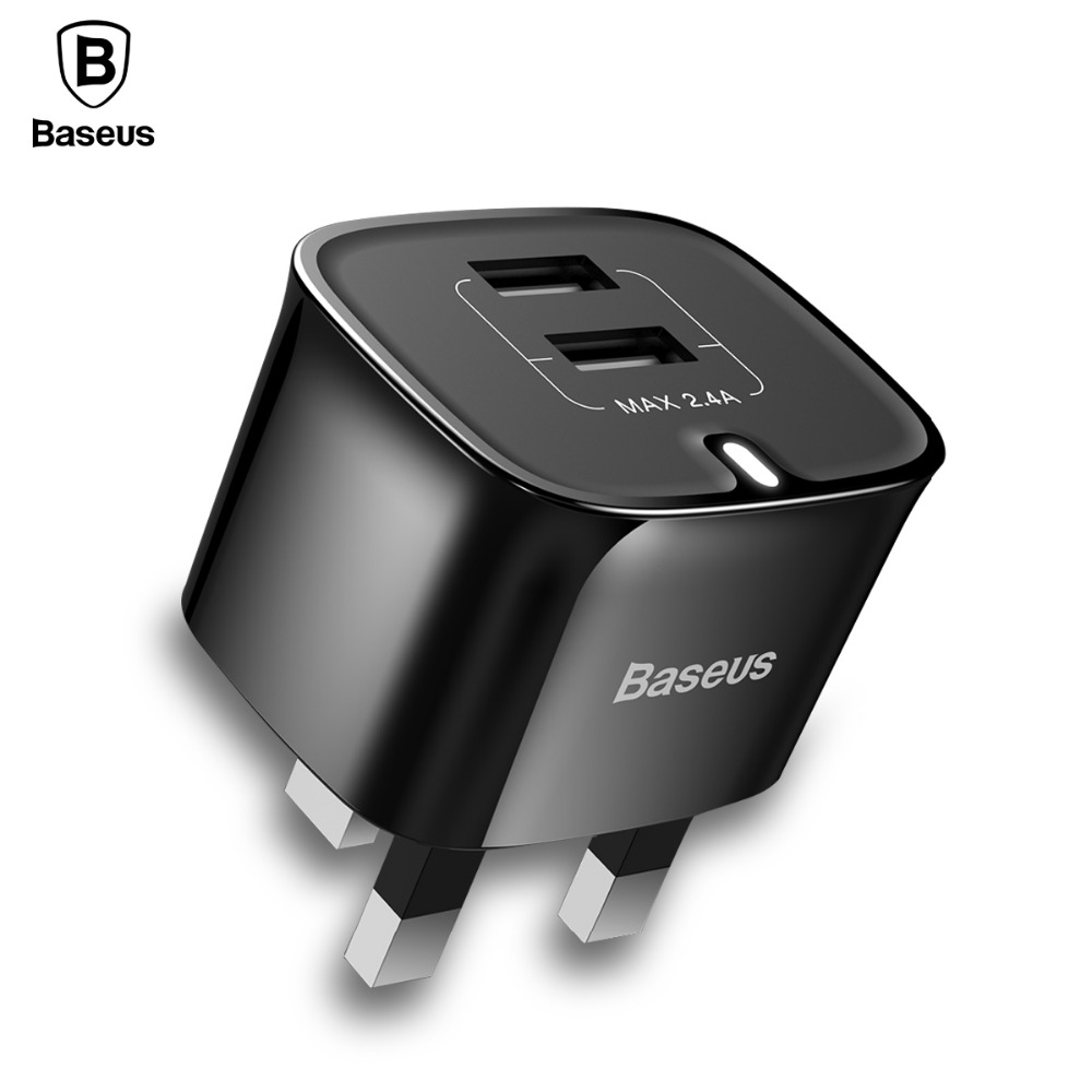 Baseus Dual Ports USB Charger UK Plug USB Travel Wall Charger Adapter 5V 2.4A Smart Mobile Phone Charger For iPhone 8 7s Samsung