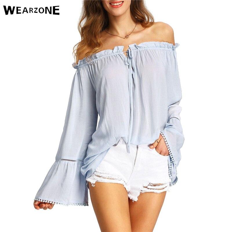 e2329f0654a19 2016 Womens vendaje blanco Flare manga estilo del hombro Blusas casual  playa de verano Batwing manga blusa suelta y Tops