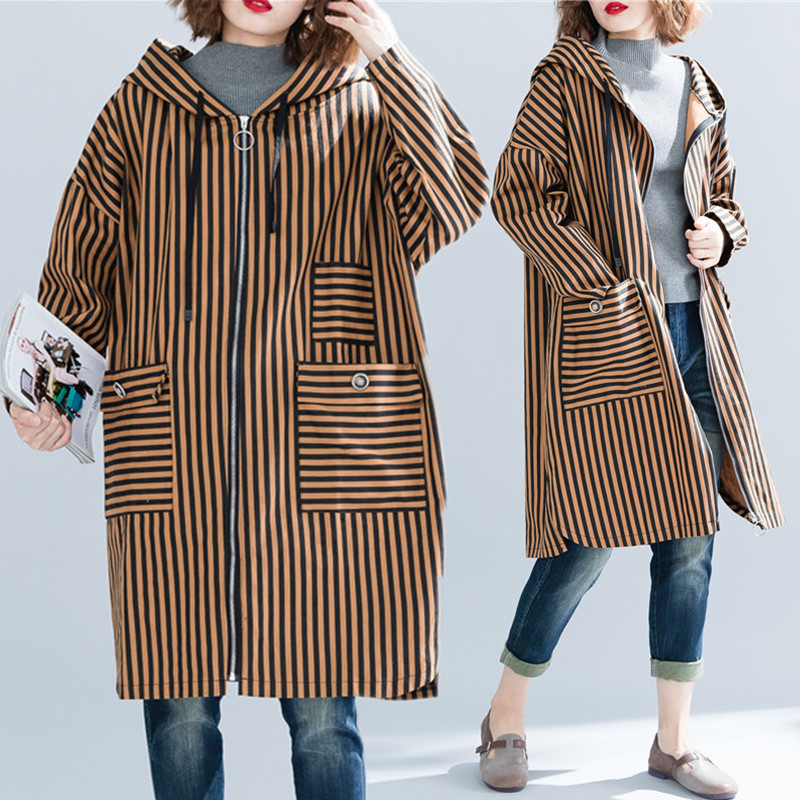 BIG Size 4XL Spring Autumn Women Fashion Elegant Stripe Tops Ladies Female Plus Large Loose Cardigans Pocket Split Jacket Coat