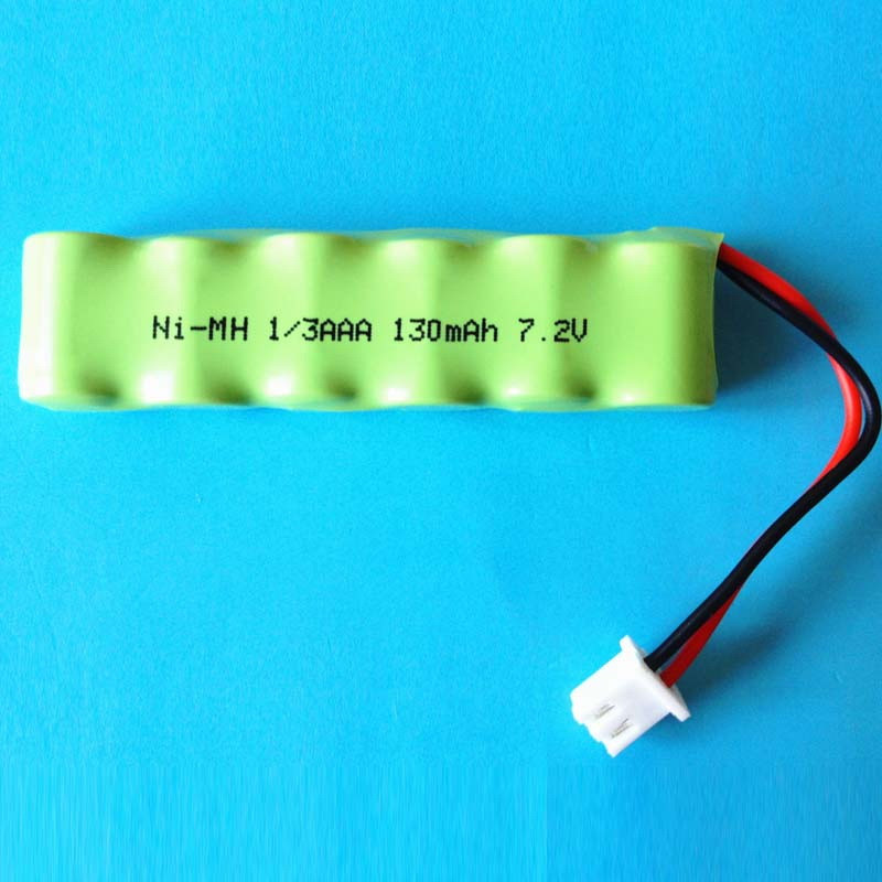Free shipping by DHL <font><b>1/3</b></font> <font><b>AAA</b></font> Ni MH batteries pack Ni-MH Rechargeable Battery pack 7.2V 130mAh 1/3AAA With connector 100pcs/lot image