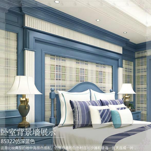 Blau/Gelb Amerikanischer Klassische Haushalt Stil Schlafzimmer Wohnzimmer  Grid Vliestapete Holz Faser Textil Prägetapeten