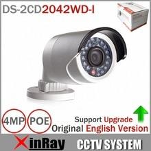 Оригинальный hik ds-2cd2042wd-i Full HD 4mp высокого resoultion 120db wdr poe ip ir bullet сеть видеонаблюдения Камера английская версия