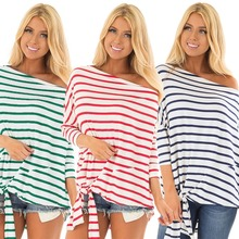 Spring and Autumn New Hot Stripe T-Shirt Fashion Personality Female Off-Shoulder Long Sleeve Casual Sexy