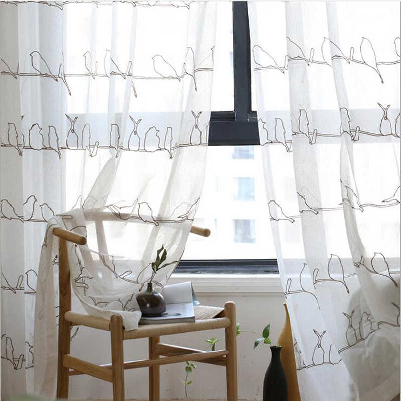Curtains with birds Tulle With Birds Pattern Embroidery Living Room Window Treatments Curtain Drapery White Curtain wp402#30