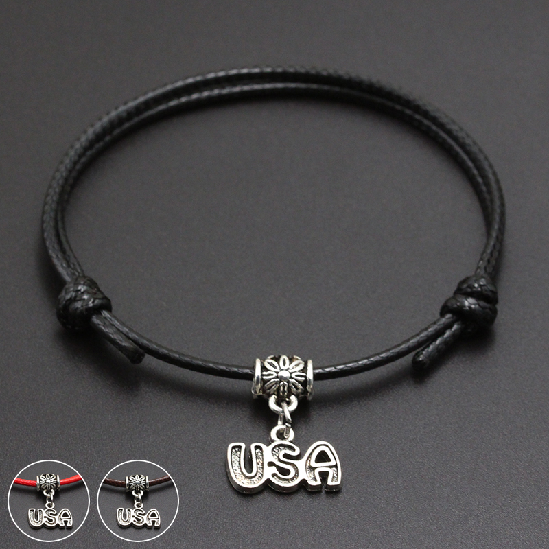 2020 New I Love USA Pendant Red Thread String Bracelet Lucky Black Coffee Handmade Rope Bracelet for Women Men Jewelry