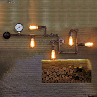 Retro Rustic Water Pipe Wall Lamp Vintage Fixtures Loft Style Industrial Edison Wall Sconce living room bedroom restaurant bar