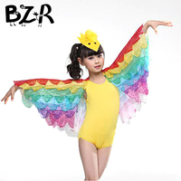 Children Colored Bird Parrot Stage Perform Cosplay Clothes Colorful Birds Costumes Stage Show Play Wear Clothing