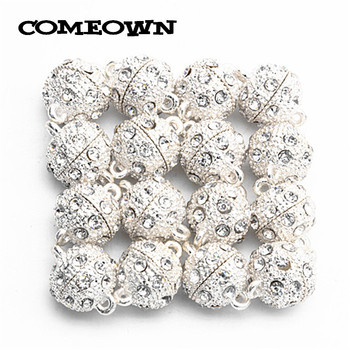 COMEOWN 20pcs Silver Color Rhinestones Bracelet Clasp 10mm 12mm 14mm Magnetic Clasps Findings for Jewelery Making Wholesale