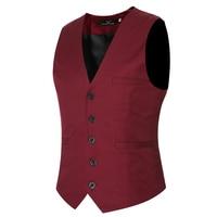 MarKyi Plus Size 6xl Fashion Slim Fit Sleeveless Mens Wedding Waistcoats 9 Colors Solid Waistcoat Men
