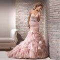 Не 'ы Свадебные Многоуровневого На Заказ Белый Кот Милая Шеи длиной до пола Органзы Длинные Свадебные Платья 2016