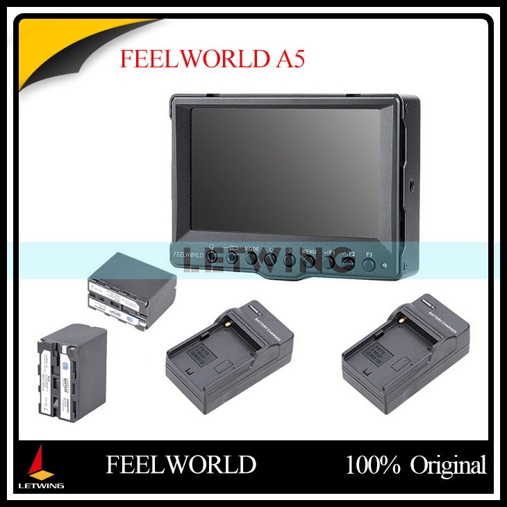FEELWORLD A5 5 Aluminum Ultra HD On-Camera Field LCD Monitor + 2pcs Rechargeable NP-F970 Li-ion Battery w/ Charger
