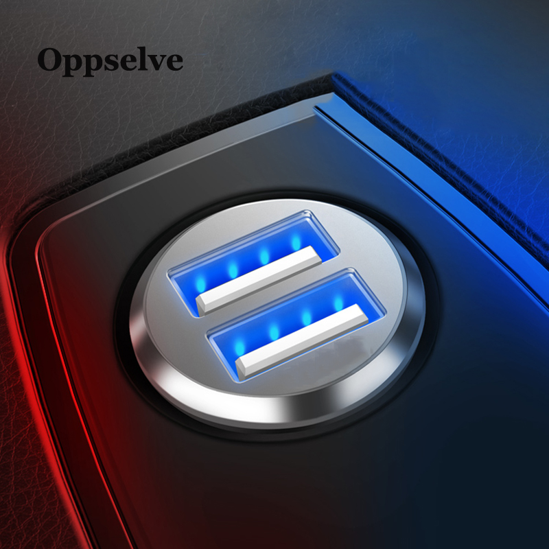 Oppselve Car Charger Mini Dual USB Car-styling For Phone 2 Port Fast Car-Charger iPhone X 11 Samsung