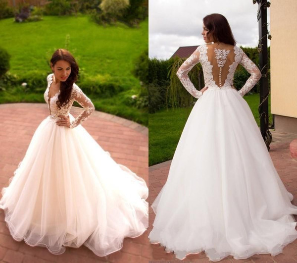 Sheer Lace Applique Long Sleeve Wedding Dress V Neck: 2019 Wedding Dresses A Line Deep V Neck Illusion Long