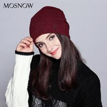 MOSNOW Hats For Women Men Fashion 2017 Autumn Winter Brand New Lattice Wool Warm Knitted Hat