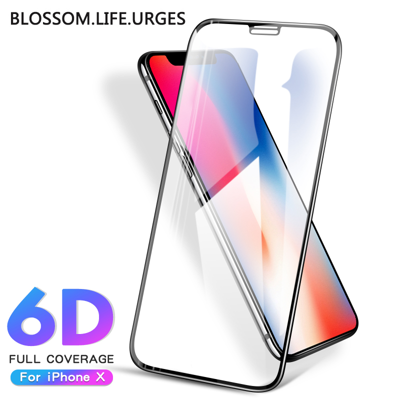 6D protective glass for iPhone 6 6S 7 8 plus X glass on iphone 11 pro XR XS MAX screen protector iPhone 7 6 screen protection XR-in Phone Screen Protectors from Cellphones & Telecommunications