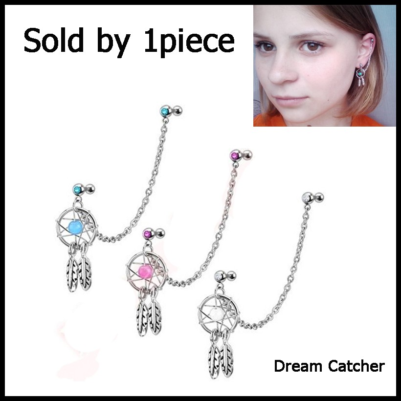 Dream Catcher Helix Earring 40Pcs 406g Mix Color Dream Catcher Ear Tragus Cartilage Earring With 29