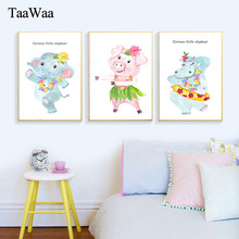 TaaWaa Pig Elephant Cartoon Art Poster Animals Canvas Prints Picture Nordic Style Decorative Painting For Kids living Room Decor