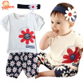 2016 Hot Newborn Baby Girl Outfits Infant Clothing Baby Girl Summer Clothes Vetement Bebe Garcon Sleeve Romper+Headband+Pants