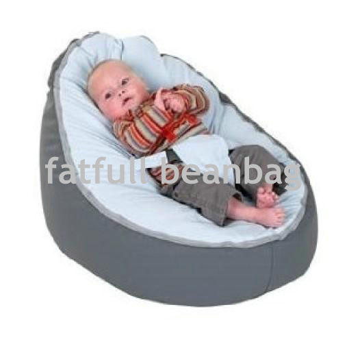 Cover Only No Fillings Grey With Blue Harness Strap Baby Bean Bag Chair