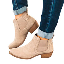 suede leather boots Vintage Women Square Heel Suede Slip-On Booties Boots Round Toe Shoes #TXD(China)
