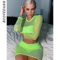 Boofenaa neon malha verde fishnet sexy duas peças vestido bodycon senhoras clube outfits 2019 2 peça conjunto conjuntos de correspondência C77-AA02