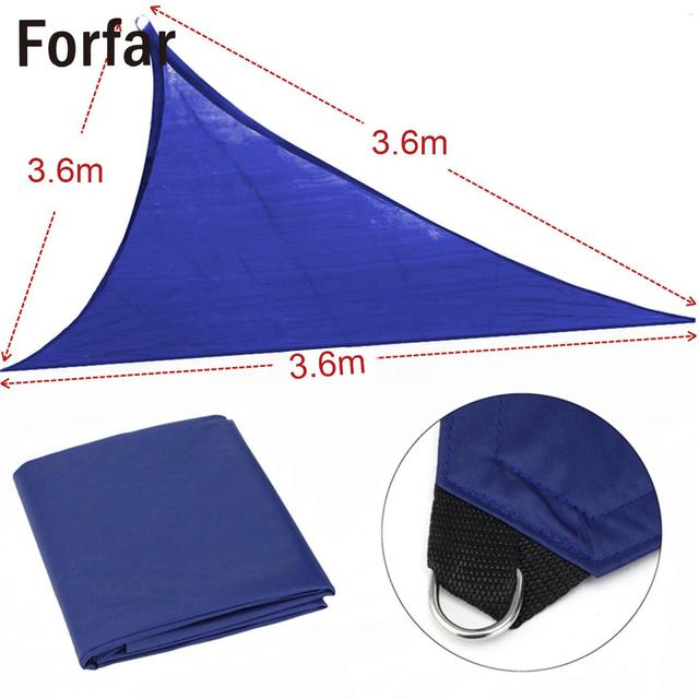 3.6*3.6*3.6M Waterproof Triangle Sun Shade Sail Patio Outdoor Canopy UV Block Top Cover for Garden Awning Shelter Sun Shelter