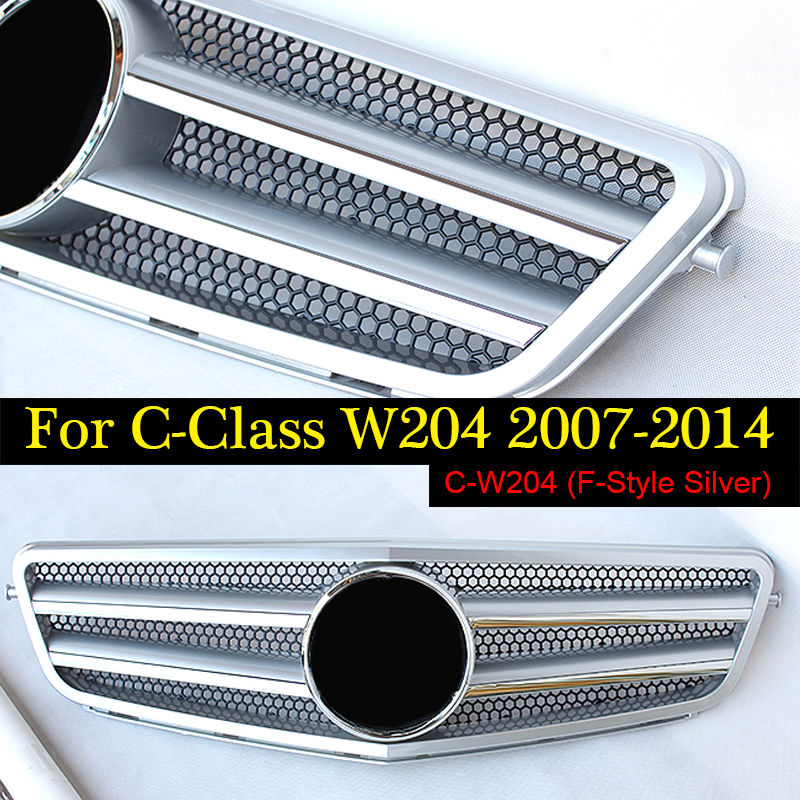 2007-2014 Style Front Black & Chrome Hood Sport Grill Center Grille for Mercedes Benz W204 c180 c200 c230 c250 c280 c300 c350 w204 c180 c200 c260 c300 carbon fiber car rear trunk lip spoiler wing for mercedes benz w204 c63 4 door 2008 2013 amg style