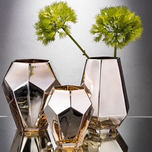 Newclassical Golden glass vase Electroplate Dry flowers Hydroponics vases Tabletop tall nordic decoration home wedding