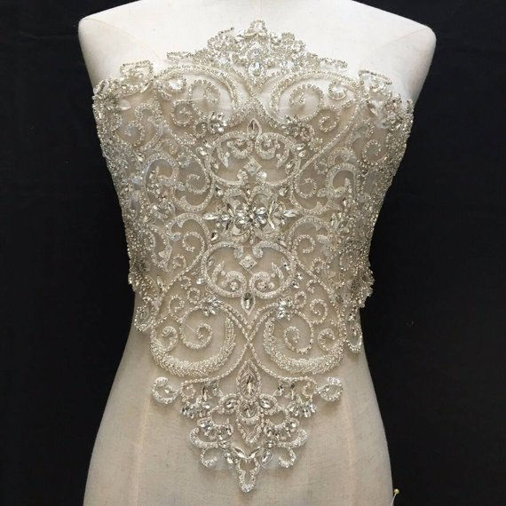France and Africa lace Upscale and luxuriant large Rhinestone applique,SWAROVSKI Big crystal bodice applique for wedding dress