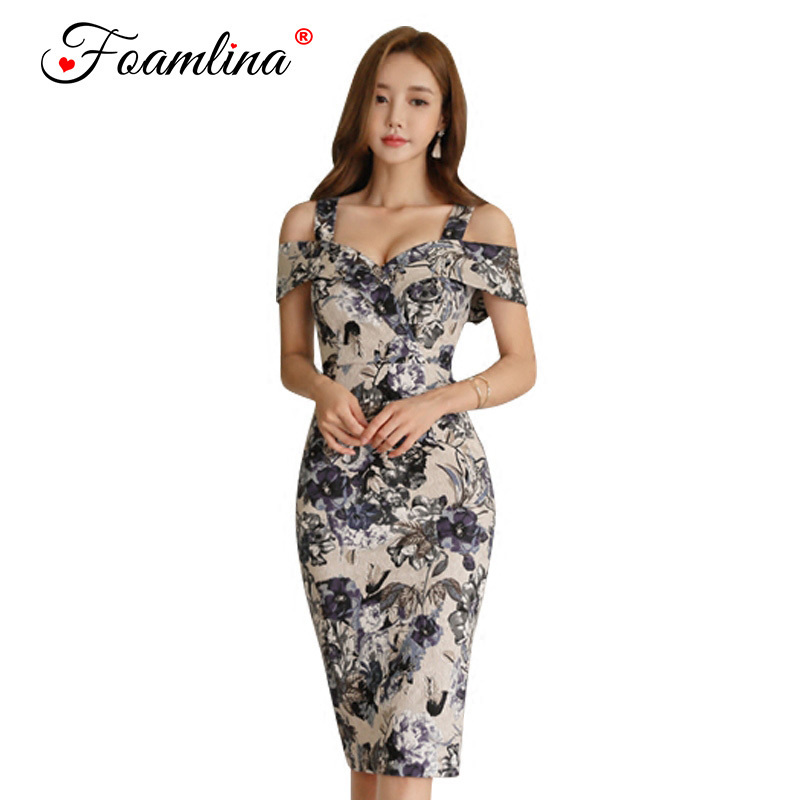 Foamlina Summer Women Dress Floral Print Strap Bodycon Dress Off Shoulder Slim Fit Work  ...