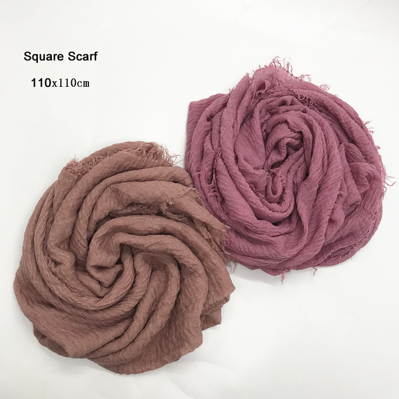 10pcs/lot 110x110cm Women Cotton Square Scarf Plain Wrinkle Crinkle Pleated Muslim Hijab Scarves With Fringes Head Scarf Shawls