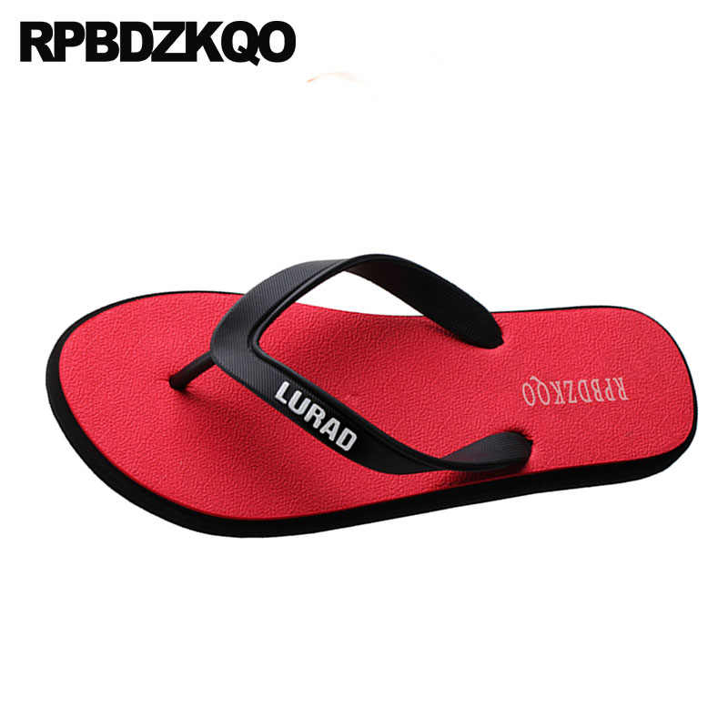 092277ee8ad09 ... Water Size 46 Rubber Slippers Beach Men Red Plus Mens Sandals 2018  Summer Outdoor Large Slides ...