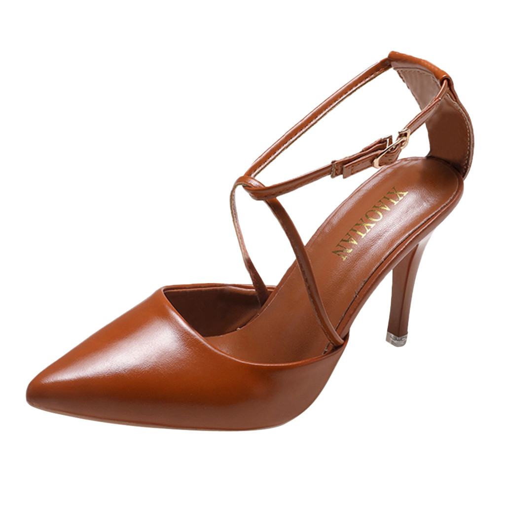 JAYCOSIN shoes Women Leather High Heel Pointed Toe Buckle Sandals Roman Shallow Ladies Office Shoes 2019 2