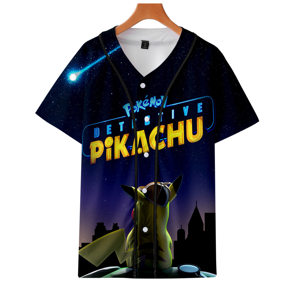 2019 New Pokemon <font><b>Detective</b></font> <font><b>Pikachu</b></font> 3D Print Baseball T-shirts Women/Men Short Sleeve <font><b>Tshirt</b></font> Fashion Casual Streetwear T shirt image