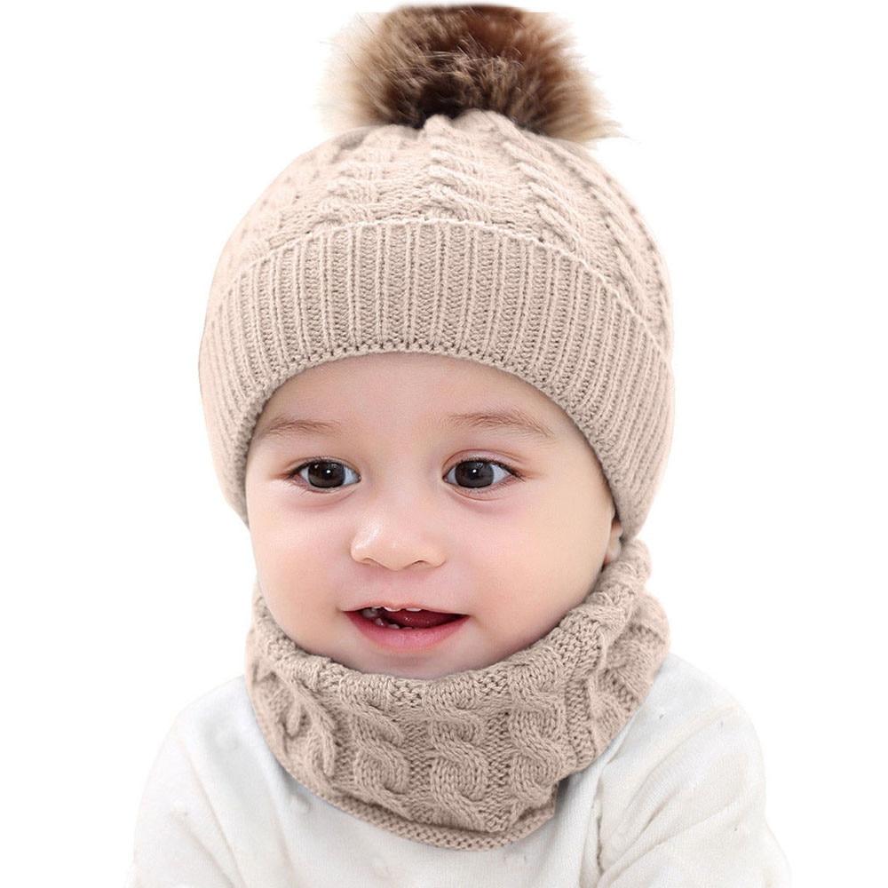 #5 2018 NEW HOT Fashion 2Pcs Toddler Children Girls Boys Winter Warm Knitted Cap+Scarf Keep Set Free ship