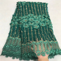 Teal Color Nigerian Laces Fabrics 2018 High Quality Tulle African Laces Fabric Wedding Mesh African French Net Lace