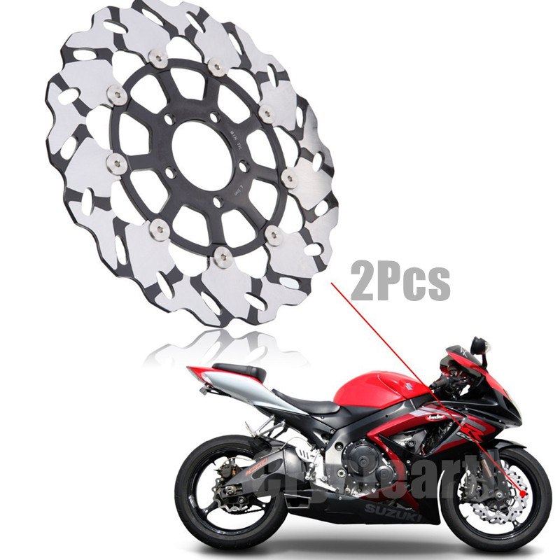 2Pcs Motorcycle Front Brake Disc Rotors For Suzuki Hayabusa GSXR 600 750 1000 GSX-R 600 750 1000 TL1000R TL1000S GSX1400 GSX1300 motorcycle front brake pad for suzuki gsx 750 gsx750 et ex 1980 1986 motorbike brake disc pad fa51