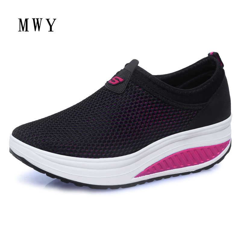 MWY Spring Summer Women Flat Platform Shoes Woman Casual Mesh Breathable Sneakers Slip On Heels Moccasins Shoes zapatos mujer mwy women breathable casual shoes new women s soft soles flat shoes fashion air mesh summer shoes female tenis feminino sneakers