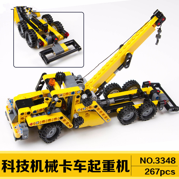 DECOOL 3348 High TTECHNIC MINI MOBILE CRANE TOW TRUCK VEHICLE Model building block bricks toys for Children gifts DIY 608pcs race truck car 2 in 1 transformable model building block sets decool 3360 diy toys compatible with 42041