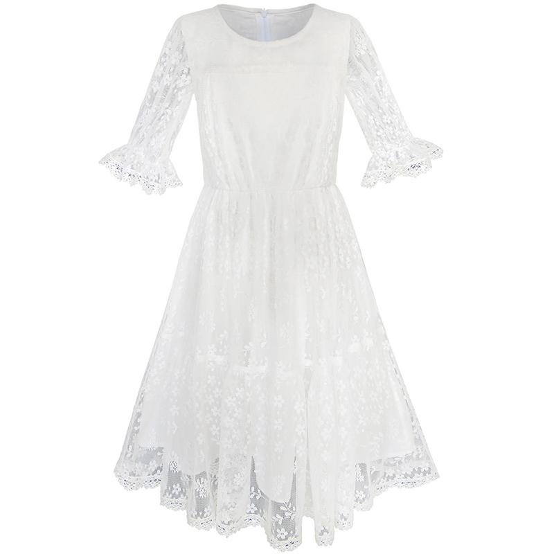 Sunny Fashion Flower Girls Dress Off White Lace Wedding Pageant Party 2017 Summer Princess Dresses Children Clothes Size 5-10 girls dresses summer 2016 performance clothing girls princess dress children dress flower wedding dress girls clothes