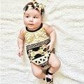 Bebé Completo Impreso con Diadema y Flecos Decoratin Pico de subida Del Mameluco Del Bebé Niños de Impresión Digital con Tocado