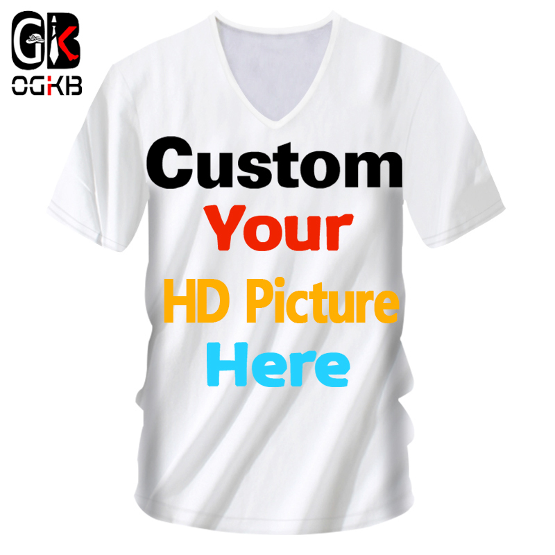 OGKB Men's DIY Customized T-shirts Your Own Design 3D Printed Custom V Neck Tshirt Male Short Sleeve Casaul Tee Shirts Wholesale