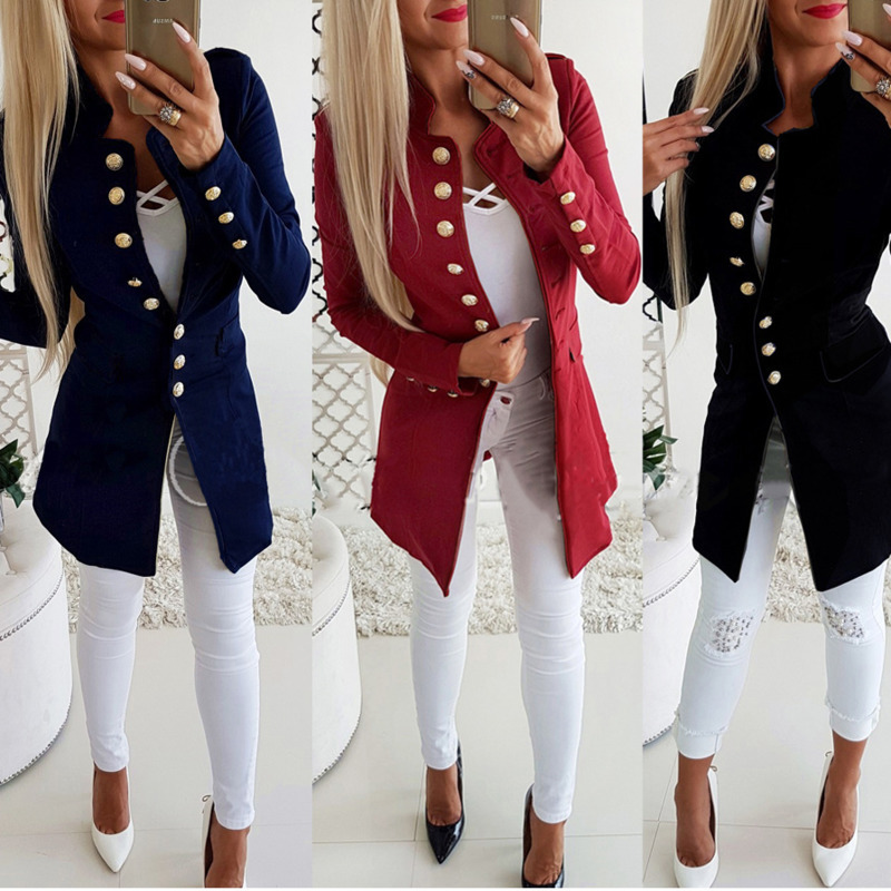 Blazer Women Jackets Long Sleeve Row Buckle Self-cultivation Small Suit Loose Black Gray Blue Coat Pattern Hot Style Femme Mujer