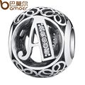 BAMOER Simple Classic 925 Sterling Silver Alphabet A Letter Bead Charms fit DIY Bracelet & Necklace Jewelry Accessories PSC008-A