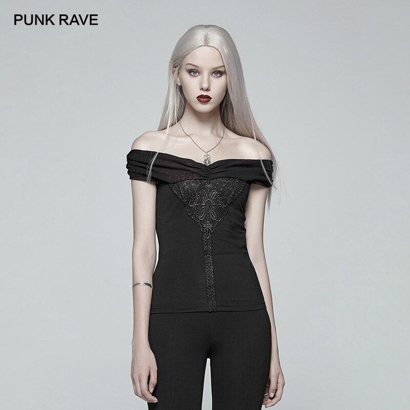 PUNK RAVE nouveau femmes noir epaules dénudées T-shirt court avec avant dentelle gothique Applique Punk Sexy Club Harajuku haut pour femme