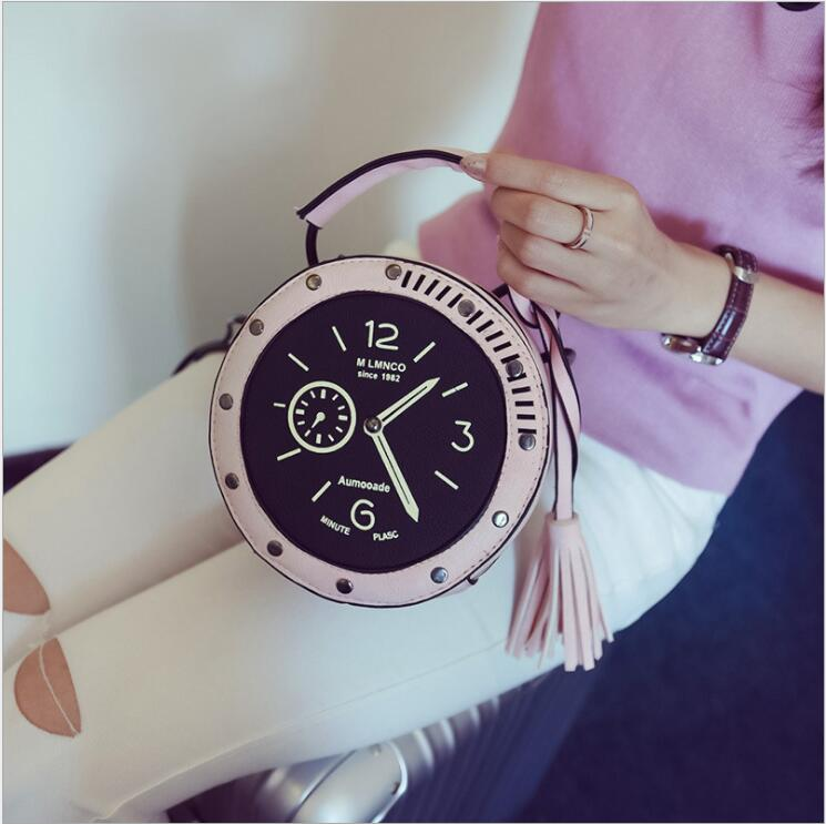 2018 Women Circle Crossbody Bag Female Leather Round Clock Shape Handbag Watches Tassels Messenger Bag for Girls 3 Color Fashion in Top Handle Bags from Luggage Bags